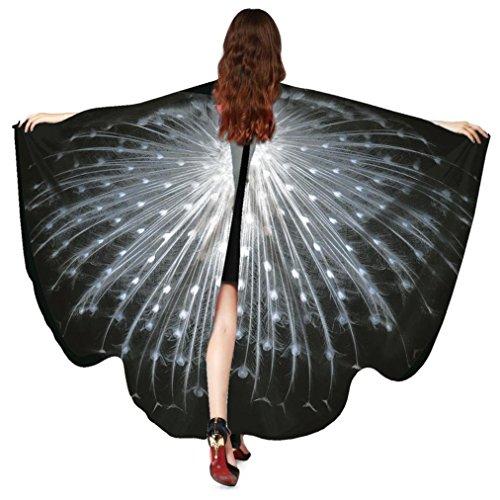 Dragon868 Frauen Pfau Flügel Schal Schals Damen Nymphe Pixie Poncho Kostüm Zubehör Cosplay Accessoires Umhang 168*135CM (Schwarz)