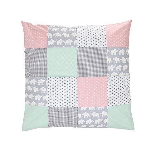 ULLENBOOM ® Baby Bettdeckenbezug 80x80 Elefant Mint Rosa (auch als Kinderwagendecke oder Dekokissen geeignet, Motiv: Elefanten, Sterne, Patchwork)