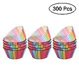 MyLifeUNIT Colorful Rainbow Muffin Liners, estándar de papel Cupcake Liners, para magdalenas para horno vasos (300cuenta)