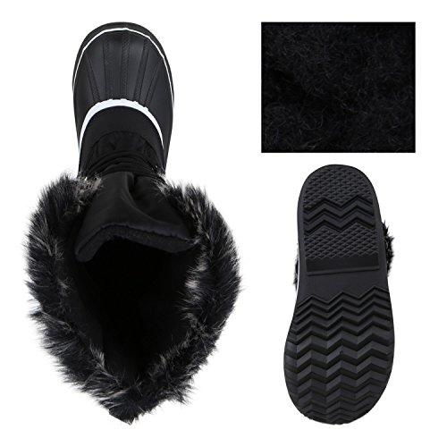 Damen Winterstiefel Warm Gefütterte Stiefel Strass Winter Boots Schnee Schuhe Winterschuhe Profilsohle Snowboots Flandell Schwarz Berkley