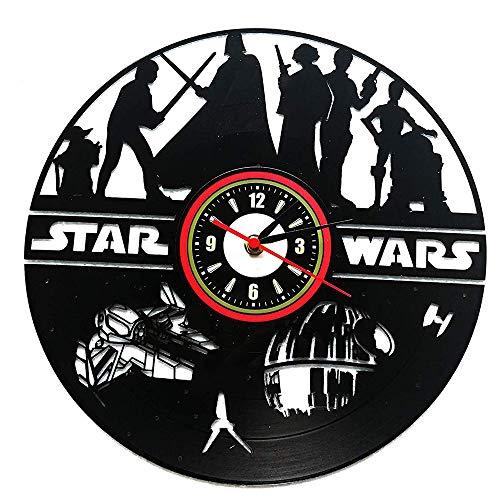 LZXSGZ Star Wars Schallplatte Wanduhr Stille Quarzuhr Kunstuhr Weihnachten, Halloween, Männer Jungen Und Vatertag (30Cmblack Round) (Disney Paris Halloween)