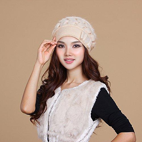 BTBTAV*Winter hat im mittleren Alter Damen Strick hat Tide mit warmen stricken Angora Hüte, Kappen , (Alice Spiel Im Up Dress Wunderland)