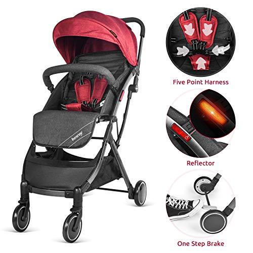 51y7NN 4S9L - Besrey Silla de paseo de bebe Compacta y Ligera Cochecito para Viaje Plegable Carritos de Bebe 3 años