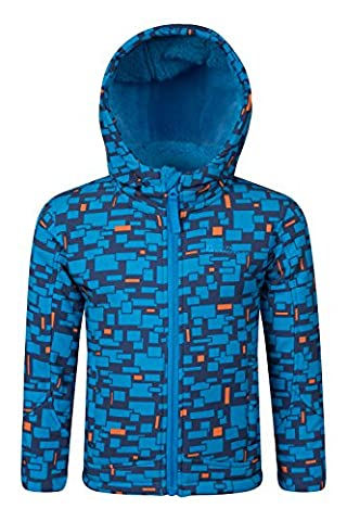 Mountain Warehouse Arctic Printed Warm Hooded Showerproof Breathable Kids Softshell Jacket Cobalt 3-4 years
