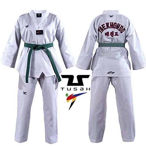 Tusah Kids WTF White V Neck Embroidered Uniform - TAEKWONDO GI SUIT DOBOK TKD
