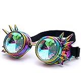 caleidoscopio gafas mujer con remache Sannysis caleidoscopio juguete niños gafas de sol edm lente difractada gafas de sol hombre polarizadas gafas de mujer espejo para halloween disfraces (Multicolor)