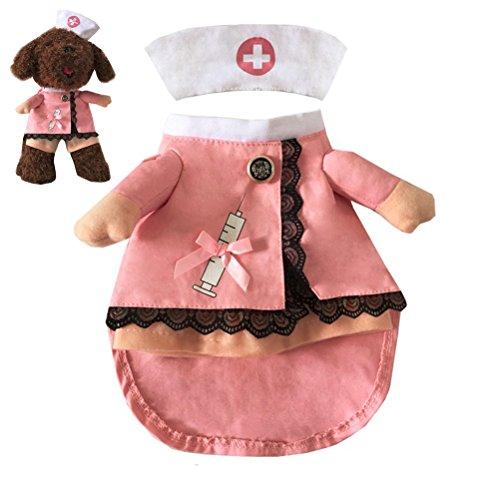UEETEK Haustierbekleidung Krankenschwester Cosplay Kostüm Katze Hund Hut Outfit Lustige Party Bekleidung - Größe S