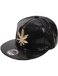 Marihuana WEED Hip Hop Cap Snapback Schwarz goldfarben für Damen und Herren