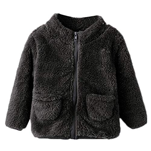 Hawkimin_Babybekleidung Hawkimin Baby Jungen Mädchen Einfarbig Flauschige Weicher Plüsch Mantel Jacke Dicke warme Oberbekleidung Kleidung
