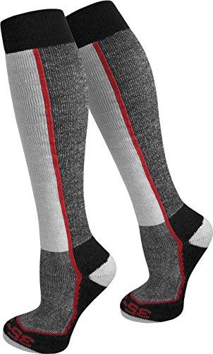 2 Paar Spezial Ski Thermo Kniestrümpfe mit Thermolite Fasern und Elasthan Farbe Rot gestreift Größe 43/46