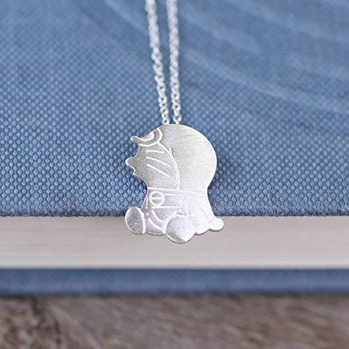 SHOUSHI Frauen Western Fashion Mode 925 Silber Cartoon Charakter Überzug Halskette S925 Sterling Silber Halskette Silber Silber Gebürstet Doraemon Halskette Weibliche Nette Roboter Katze, 925 Silber