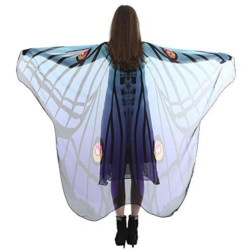 (YWLINK Unisex Frauen Retro Karneval Party Weiche Gewebe Schmetterlings FlüGel Schal Umhang Erwachsener Damen Chiffon Pixie Halloween Cosplay Weihnachten Cosplay KostüM Zusatz Rock(185 * 145CM,Blau))