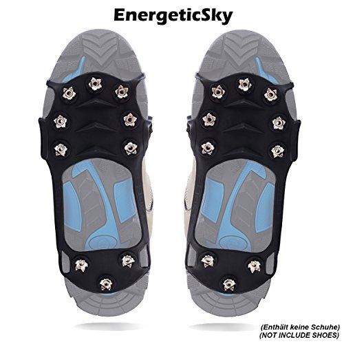Schuhspikes Mit 10 Noppen, Schuhkralle,Kieselgel Anti Rutsch Eisspikes für Den Stiefel, Steigeisen - By EnergeticSkyTM (XL, Schwarz)