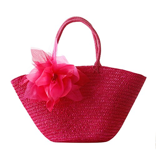 Frauen Reise-Urlaub Stroh-Handumhängetasche Pastoral Silk Fashion-Strand-Tasche Red