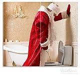 Wallario Herdabdeckplatte / Spritzschutz aus Glas, 2-teilig, 60x52cm, für Ceran- und Induktionsherde, Weihnachtsmann macht Pause und pinkelt auf edler Toilette