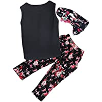3pcs per bambini ragazze abiti floreale fascia + Floreale Senza Maniche Top + Pantaloni Vestiti Set