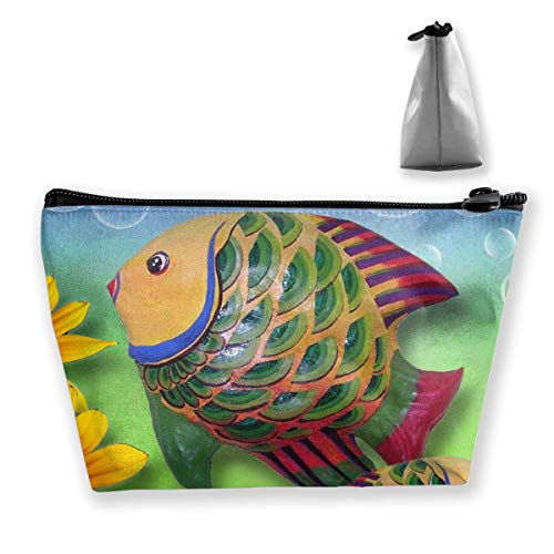 Fish and Flowers Makeup Bag Large Trapezoidal Storage Travel Bag Wash Cosmetic Pouch Pencil Holder Zipper -