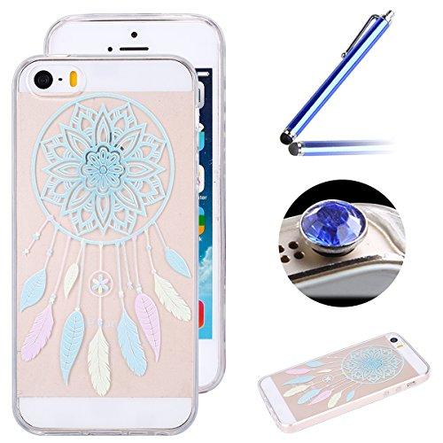 Etsue Silikon Case für iPhone SE/iPhone 5S [Eiffelturm Pflaume Baum] Transparent TPU Schutzhülle, Bunte Blumen Schmetterling Painted Ultradünne Klare Silikon Gel Schutzhülle Weich TPU Case Crystal Cle Bunte Feder,Traumfänger Muster