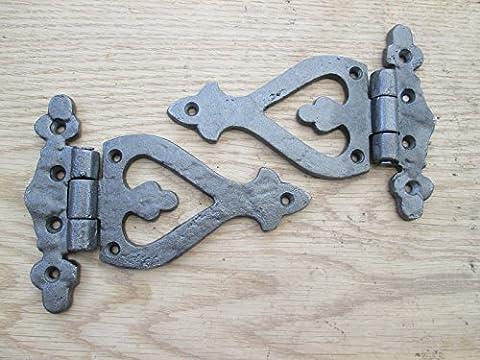 IRONMONGERY WORLD® ANTIQUE ARROW HEAD CAST IRON FANCY DECORATIVE DOOR CUPBOARD HINGES- Antique iron/pewter