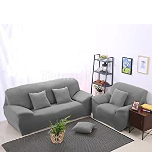 Spandex Stretch Soft Lounge Chair Sofa Couch Seat Cover Slipcover Settee Case One seater(90-140cm) Grey