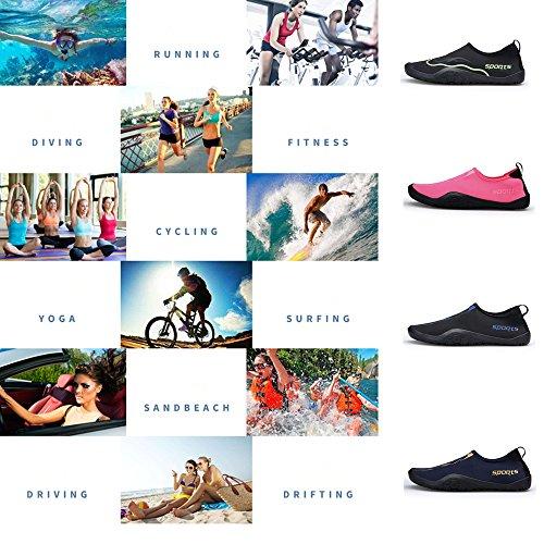 Zaone Damen Herren Aquaschuhe Weich Strand Badeschuhe Schwimmschuhe mit Rutschfeste Sohle Geeignet für Wassersport Fitnessstudio Yoga Grün