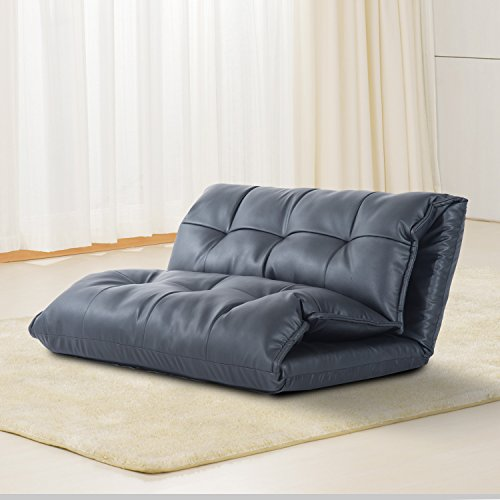 clearance-homcom-pu-leather-lounge-guest-sofa-bed-5-position-soft-floor-sleeper-adjustable-seat-couc