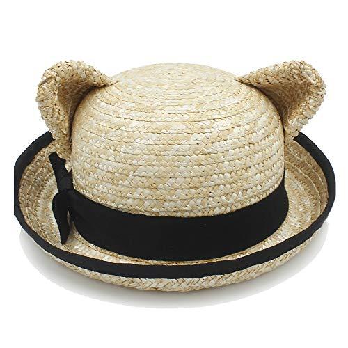 XXY Kappe Panama Hut Sonnenhut Bast Hut Sommer Damen Eimer Kappe Katze Ohren Schwarz Band Dekoration Strand Hut beiläufig (Farbe : Light Khaki, Größe : 56-58CM)