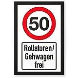 DankeDir! 50 Jahre Rollatoren/Gehwagen Frei, Kunststoff Schild - Geschenk 50. Geburtstag, Geschenkidee Geburtstagsgeschenk Fünzigsten, Geburtstagsdeko/Partydeko / Party Zubehör/Geburtstagskarte