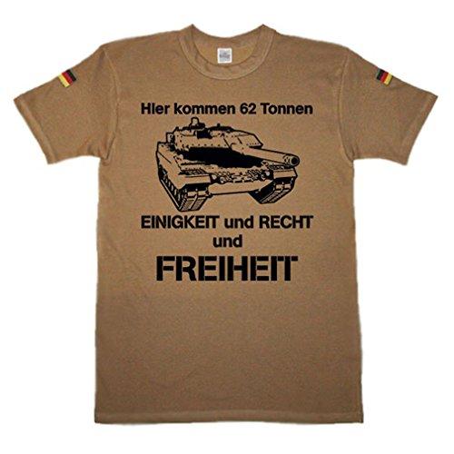 BW Tropen Hier kommen 62 Tonnen Bundeswehr Tropenshirt Tropenhemd Leopard Panzer 2A6 Panzertruppe Uniform Humor Fun Spaß Panzermann BW T-Shirt (Herren XXL, Khaki)