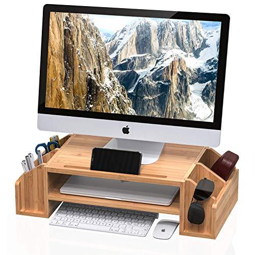 Well-Weng Bambus-Monitor-Ständer mit verstellbarem Aufbewahrungs-Organizer für iMac, Drucker, Notebook, Xbox One, PS4 (MR3-SG))