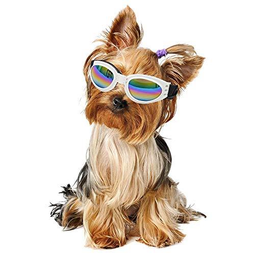 Auoker Hundesonnenbrille, Winddicht, faltbar, polarisierte Sonnenbrille mit verstellbarem Gurt, UV-Schutz, für Kleine und mittelgroße Hunde und Katzen