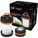 LE® Collapsible LED Camping Lantern flashlight, Dual Purpose, 3 Modes, Battery Powered, Water Resistant, Home, Garden and Camping Lanterns for Hiking, Emergencies, Outages