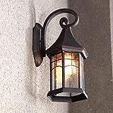 Wandleuchte E27 Retro Outdoor Wand Wasserdicht Garten Beleuchtung Balkon Außentreppe Wandleuchte (Farbe: Schwarz) (Farbe : Antique Color)