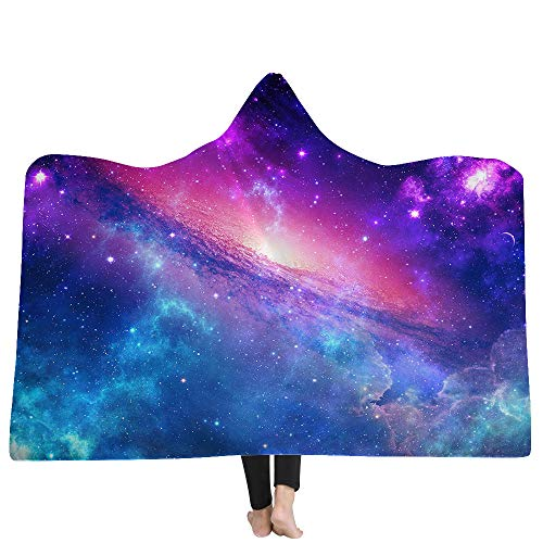 Home Manta con Capucha Manta de La Capa Nebulosa Cósmica Serie Manta de Doble Capa Adecuado para Niños y Adultos Productos Domésticos,A,150 * 200cm