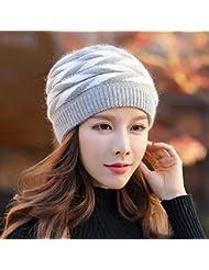 OME&QIUMEI Cálido Invierno Frío Hat Gorro De Punto Femenina Beret,Gris Claro