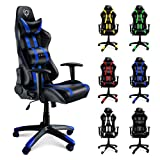 Diablo X-One Sedia da Gaming, Sedia Scrivania, Sedi di gioco Racing Gaming Chair (nero-blu)
