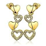Aeici Argento Orecchini Per Le Donne Cuore Collegamento Cuore Cadere Orecchini Oro Dimensione:26x10MM