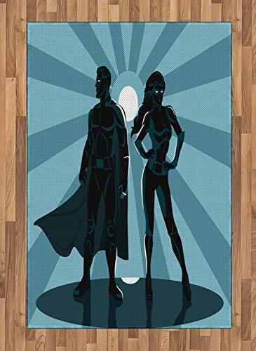 (ABAKUHAUS Superheld Teppich, Unisex Kostüm Cape, Deko-Teppich Digitaldruck, Färben mit langfristigen Halt, 120 x 180 cm, Teal Blau)