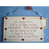 Life Begins At 40....Wooden Plaque Sign Birthday Gift 40th Humerous Funny