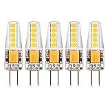 MATMO 5er Pack G4 2W LED Lampen, [5 Pack] 10 X 2835SMD, 210LM, Ersatz für 20W Halogenlampen, 12V AC/DC, Warmweiß, 360° Abstrahlwinkel, LED Leuchtmittel