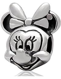 Spanglebead - Abalorio para pulsera, diseño de Minnie Mouse, plata de ley