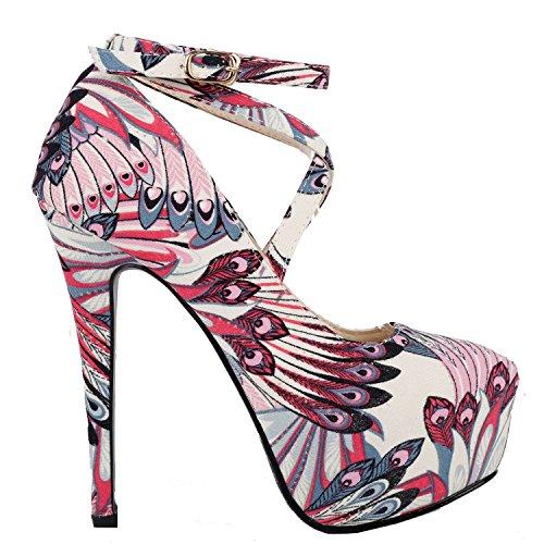 Visualizza storia Sexy pavone mette le piume alla caviglia-Wrap a spillo, LF80850 Rosso