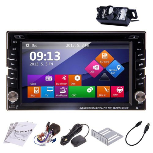 Doppel-DIN-Autoradio-Head Unit Deck 6.2 Zoll TFT-Touch-Screen-3D-Schnittstelle GPS-Navigation Bluetooth Lenkrad-Steuerung iPod AM FM Radio SD / USB Rückfahrkamera (Wenn Es War Ein Spiel Auf 2 Dvd)