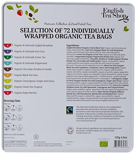 English Tea Shop Assorted Fairtrade and Organic Tea Bags Gift Tin (72 Sachets)