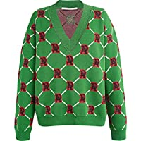 IJL suéter Jacquard rombo Verde otoño e Invierno suéter con Cuello en V suéter Temperamento suéter de línea Dorada Retro Hit Color Hembra M Verde