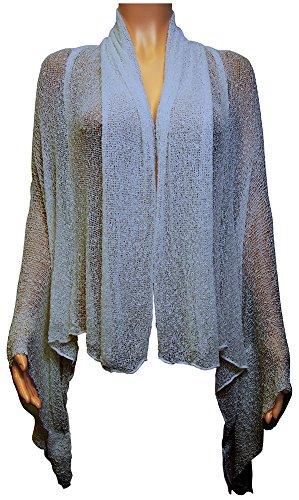 Ikat en Crochet pour épuisette Cardigan drapé effet cascade de maternité Taille M Mid Blue