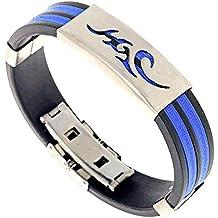 Contever® Bracciale Braccialetto Wristband in Silicone Regolabile Acciaio Inox per Gli Uomini - Blu (Diamante Dell'elefante Collana)
