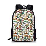 Qfunny Casual Rucksack Schultasche Doodle Unisex 3D Print Canvas Backpack,Various Home Interior Elements Armchair Table Mirror Design Elements Doodle Style Schoolbag Shoulder Bag Multicolor