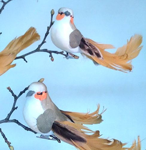 Vogel goldenfarbig mit Federschweif 12er Set