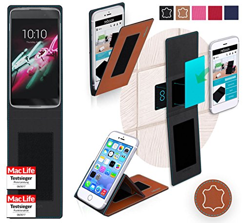 reboon Hülle für Alcatel OneTouch Idol 3C Tasche Cover Case Bumper | Braun Leder | Testsieger
